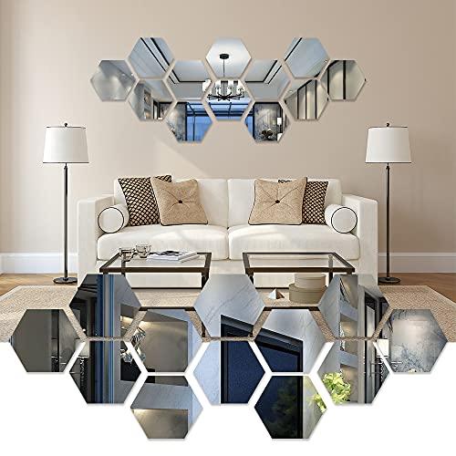 Pegatina de pared de espejo hexagonal, pegatinas de pared de espejo hexagonal tridimensional para baños, restaurantes, pasillos escaleras para antiincrustante anti-moho embellecer la decoración