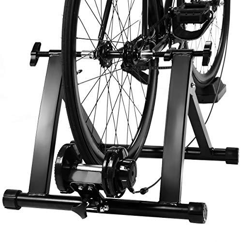 COSTWAY Rodillo Magnético Entrenamiento Bicicleta de Acero Resistencia Plegable Carga hasta 150kg Negro