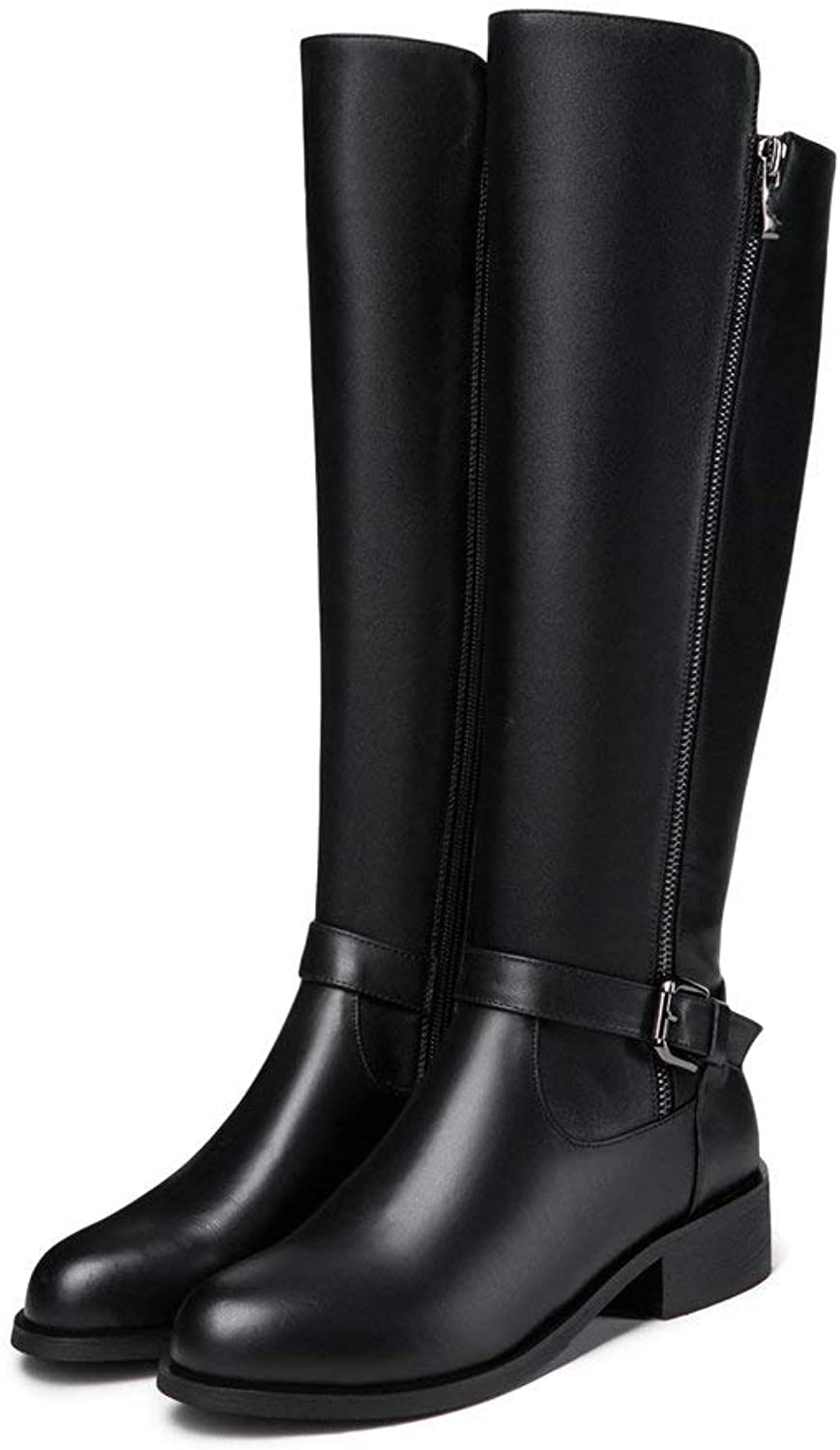 Fashion Knee High Riding Boot Women Side Zipper Buckle Strappy Genuine Leather Flat Black Western Combat Boot Winter
