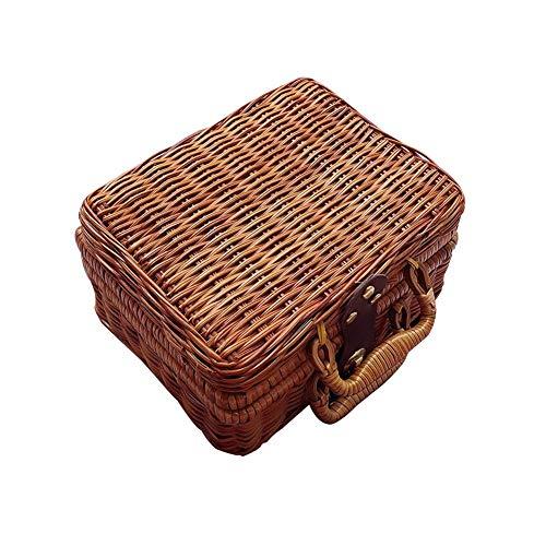 Retro - Maleta de mimbre, cesta de mimbre marrón para picnic, caja de almacenamiento de ratán, maleta de viaje para exteriores, salidas, cestas de almacenamiento de acampada