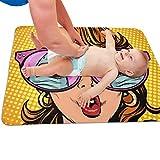 Eine Frau mit Sonnenbrille Wickelauflage Wasserdichte Babyauflage Matratzenschoner Wickelauflage Bezüge 25,5 x 31,5 Zoll Multifunktions-Waschmatte für Zuhause und im Freien