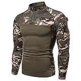 Camisa táctica de manga larga para hombre de 1/4 con cremallera, estilo militar, camisa de combate con bolsillos, airsoft, ropa al aire libre, para caza, camping, senderismo