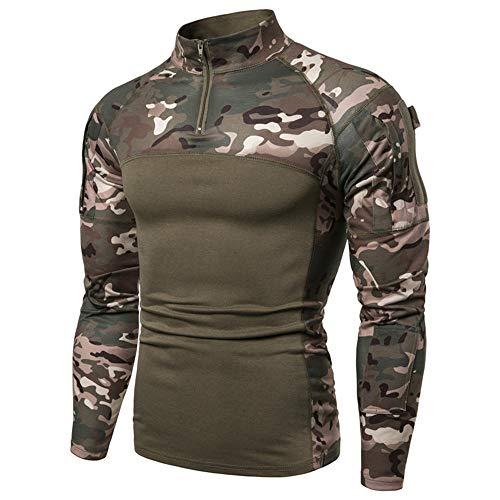 Herren 1/4 Reißverschluss Taktisches Langarmshirt Militär Stil Combat Shirt mit Taschen Airsoft Top Outdoor Kleidung für Jagd Camping Wandern Gr. 56, grün camo