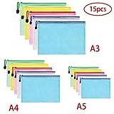 Vicloon Dokumententasche A3+A4+A5, 15 Stücke (Je 5) Datei Taschen mit Reißverschluss, Mesh...