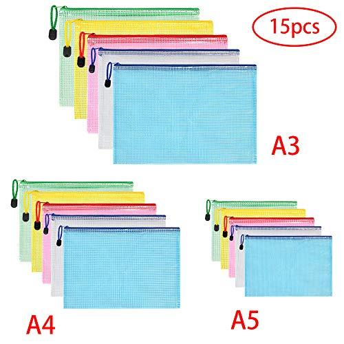 Vicloon Dokumententasche A3+A4+A5, 15 Stücke (Je 5) Datei Taschen mit Reißverschluss, Mesh Kunststoff Reißverschlusstasche für Datei, Papier, Dokumente, Kosmetika, Hausaufgaben und Reisezubehör