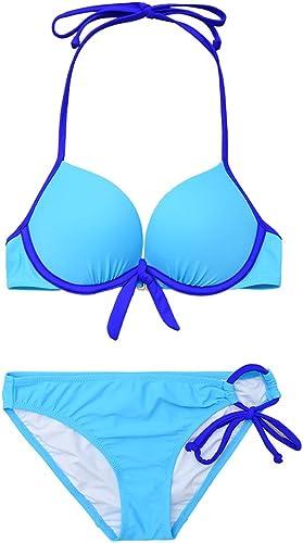 YANRY Plaque en Acier Bleu Petit Coffre rassemblé Split Triangle Sexy Hot Spbague plage Maillot de Bain Femme Simple Bikini Poitrine Rassembler (Couleur   Bleu, Taille   S)