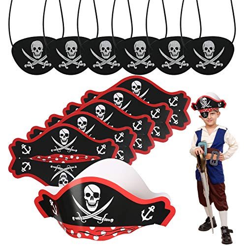 CHIFOOM Pirata Accessori per Bambini,6 PCS Pirata Cappello Carta e 6 PCS Maschera per Gli Occhi Pirata Tema Pirata Bambini Festa di Compleanno Festa di Trucco Puntelli Fotografici