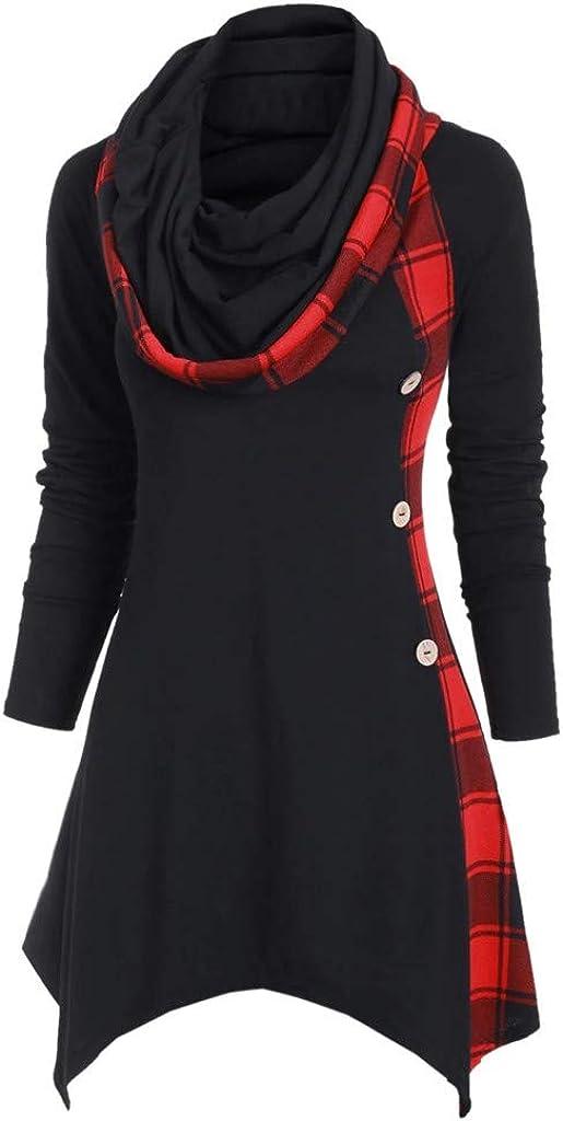 Womens Tops Plus Size, F_Gotal Women's Button Hoodie Sweatshirt Tunic Dress Pullover Cowl Neck Plaid Drawstring Tops