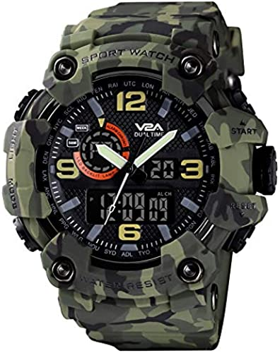 Green Camouflage Analog Digital Sport Watches For Men S And Boys Black Dial And Green Color Strap