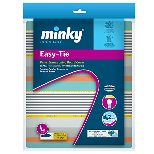 Minky Easy-tie Housse de Planche à Repasser avec Cordon 110 x 35 cm, Plastique, Coloris Assortis, 122 x 38 cm