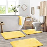 Clara Clark Memory Foam Bath Mat Sets 3 Piece - Non Slip, Absorbent, Soft Bath Rug Set - Fast Drying Washable Bath Mat - Large, Small, and Contour Sizes - Mellow Yellow