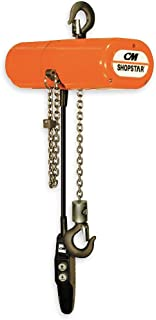 CM ShopStar Electric Chain Hoist, Single Phase, Hook Mount, 1/2 Ton Capacity, 10' Lift, 6 fpm Max Lift Speed, 0.167 HP, 7/8
