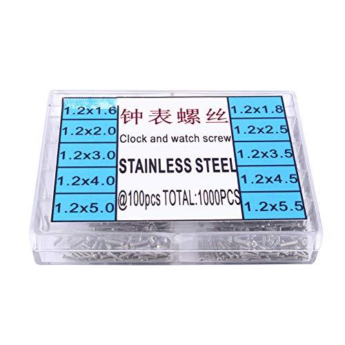 Tornillo de reloj - Tornillo de reloj Tornillos de acero inoxidable 1.6-5.5mm Fr Kit de herramientas de reparación de reloj de micro gafas