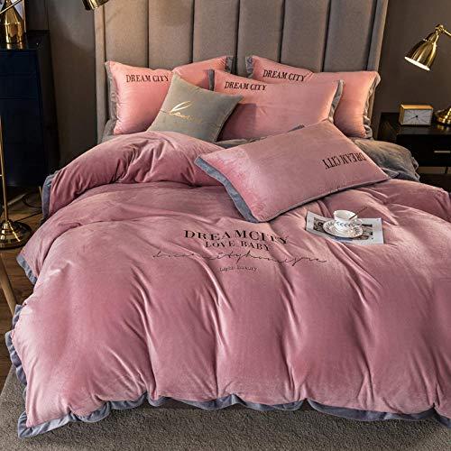 Shinon teddy bear bedding single purple,Warm winter double-sided plus velvet Nordic embroidery French velvet duvet cover single bed sheet pillowcase-B_1.8m bed (4 pieces)