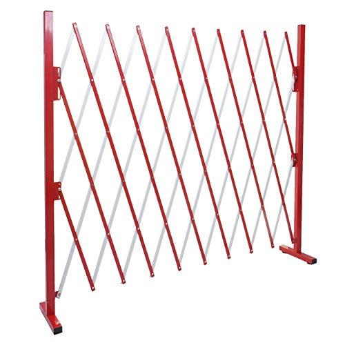 Mendler Absperrgitter HWC-B34, Scherengitter Zaun Schutzgitter ausziehbar, Alu rot-weiß - Höhe 153cm, Breite 32-265cm