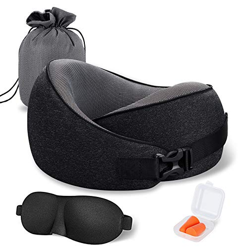 MLVOC Travel Pillow 100% Pure Memory Foam Neck Pillow, Comfortable & Breathable Cover, Machine Washable, Airplane Travel Kit with 3D Contoured Eye Masks, Earplugs, and Luxury Bag, Standard (New Black)