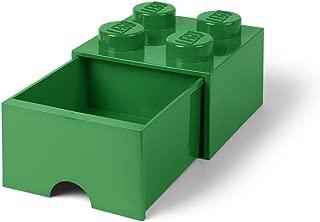 LEGO Brick Drawer, 4 Knobs, 1 Drawer, Stackable Storage Box, Dark Green