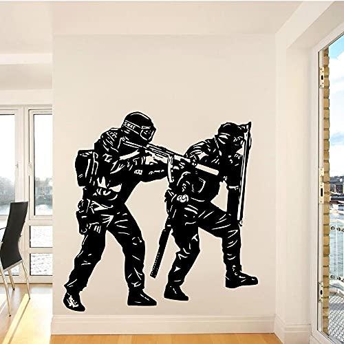 Calcomanía de vinilo para pared,pegatina para habitación de niños,equipo SWAT de policía,soldado,pegatina artística para decoración del hogar,pegatina de pared A4 57x60cm