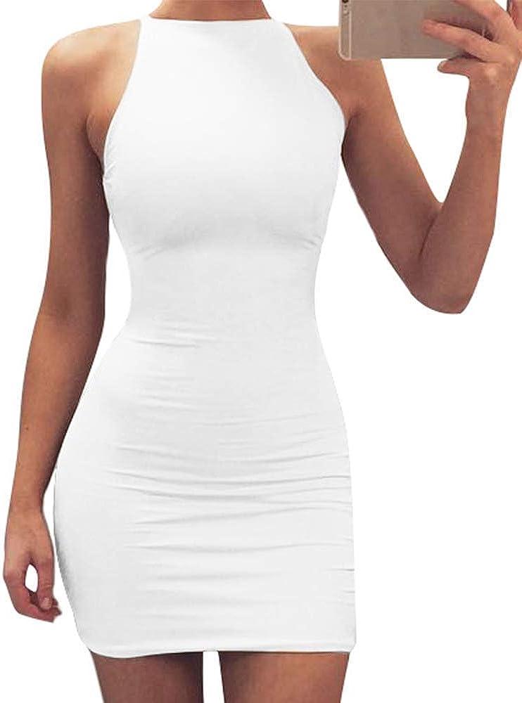 TOB Women's Sexy 1 year warranty Bodycon Spaghetti Strap Club Round Overseas parallel import regular item Min Neck Top