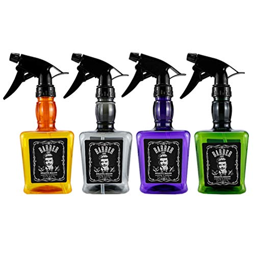 FRCOLOR 4 Piezas Barbería Tienda Botella de Spray Whisky Botella de Chorro Jack Agua Olla Vacía Recargable Ámbar Plástico Rociador Flujo de Niebla Puede para Peluquería Salón de