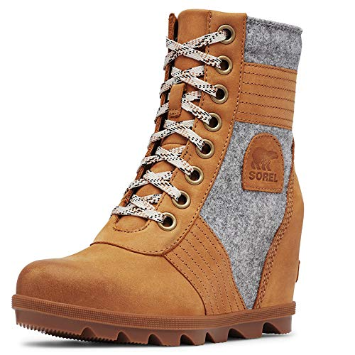 Sorel - Women's Lexie Wedge Waterproof Lace-Up Ankle Boot, Camel Brown, 8.5 M US