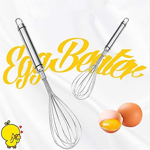 2 Pack Egg Beater Keuken Ballon Hand RVS Set voor het mengen kloppen kloppen roeren zeer stevige Keuken Gereedschap voor het koken Bakken Zilver