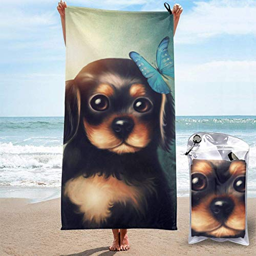 Bathroom Towels Shower Towels Toallas de playa ligeras, mariposa con perrito Beach Towels 140 X 70