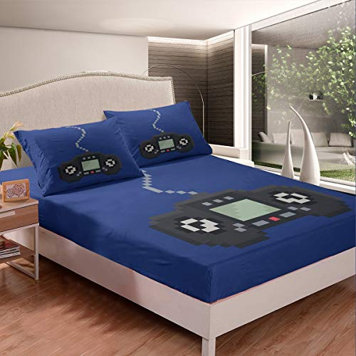 Feelyou Pixel Games Bed Sheet Set Boys Video Game Gamepad Bedding Set Vintage Game Controller Fitted Sheet for Kids Teens Gamer Bed Cover Room Decor 2Pcs Sheets TwinXL,Navy Blue