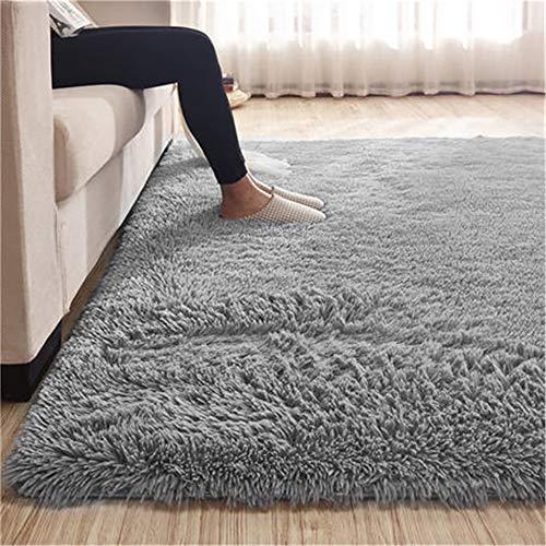 bedee Teppiche Kunstfell Wohnzimmer Teppich Grau Fellimitat Bettvorleger Sofa Matte Super weich Teppich für Wohnzimmer Schlafzimmer Kinderzimmer Auto Esszimmer Fluffy Kindermatte (120 x 150 cm)