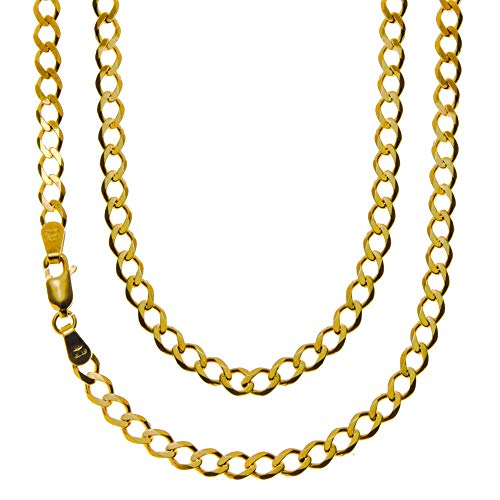 Long 9ct Yellow Gold Round Curb Chain Necklace - 10.3g - 24' (60cm) - Width 4mm - Suitable for a man or woman - Comes in a Jewellery presentation gift box
