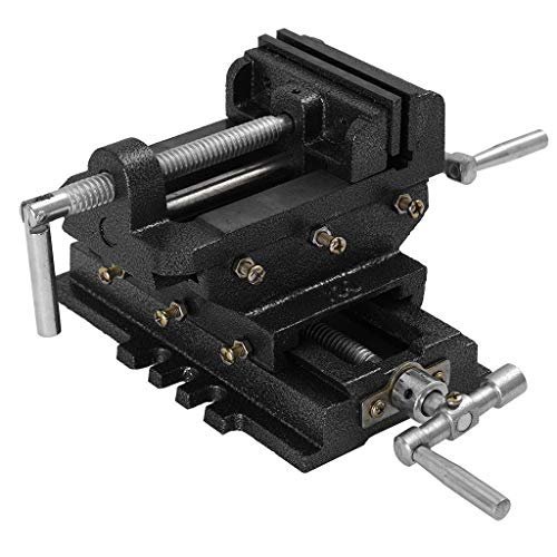 5  Drill Press Vise, Heavy Duty Cross Slide Vise Cast Iron Milling Vice Clamping Machine Bench Mount (5 Inch)