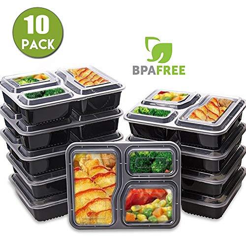 sunnyhut [Lot DE 10] 3 Compartiment Repas Préparation Alimentaire Boîtes Bento Lunch Box Récipient de préparation de Repas, Passe au Micro-Ondes et au Lave-Vaisselle, réutilisable et empilable