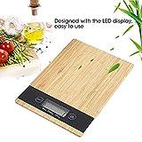 Balance de Cuisine numérique en Bambou, écran LCD, Tactile, Fonction Tara, capacité de Charge 5 kg, Balance numérique, Largeur 23 x 16 cm