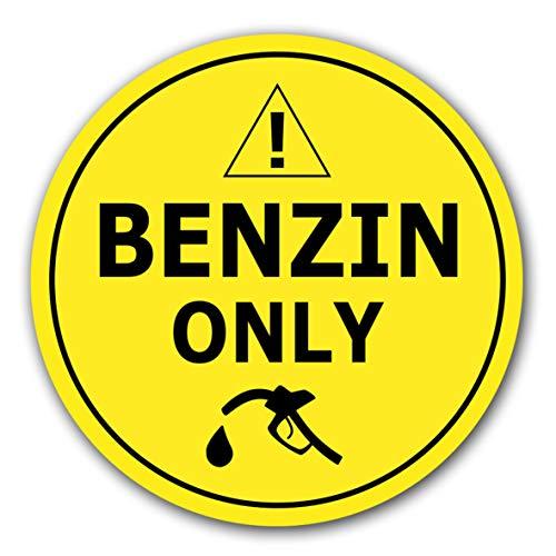 10 Stück Nur Benzin betanken Aufkleber Ø 7cm Tankdeckel Sticker Tanken Tankaufkleber Hinweiszeichen mit UV Schutz für Außen-und Innenbereich
