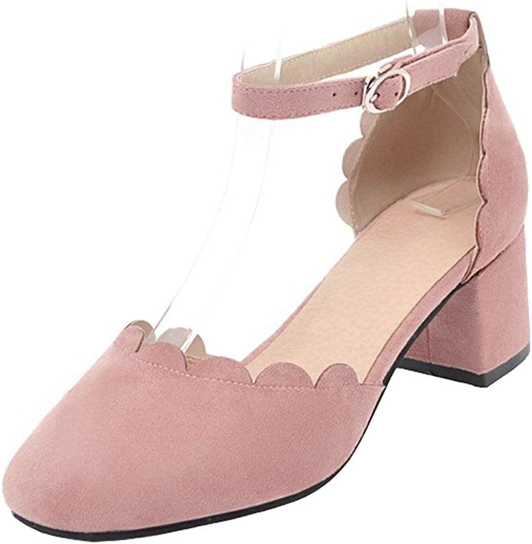 Gedigits Women's Sweet Faux Suede Buckle Ankle Strap Square Toe Block Medium Heel Sandals Black 5 M US