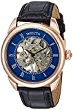 Invicta Men's Specialty Stainless Steel Mechanical-Hand-Wind Watch with Leather Calfskin Strap, Black, 22 (Model: 23538)
