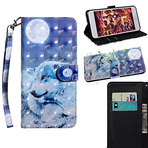 COZY HUT Alcatel PIXI 4 5.0 OT5010D Hülle Flip Case Wallet Tasche handyhüllen Silikon 3D Muster Schutzhülle Lederhülle mit Kartenfach Klapphülle Handytasche für Alcatel PIXI 4 5.0 OT5010D - Mond Wolf