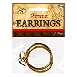 Amscan 390108 Pirates Metal Gold Hoop Fun Earrings, 1 Pair