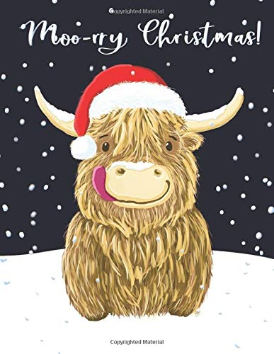 WEE HAMISH THE SCOTTISH HIGHLAND COW | MOO-RRY CHRISTMAS!: 8.5 x 11 Inch Wide Ruled Notebook | A Little Happy Heilan Coo Sporting His Christmas Santa Hat