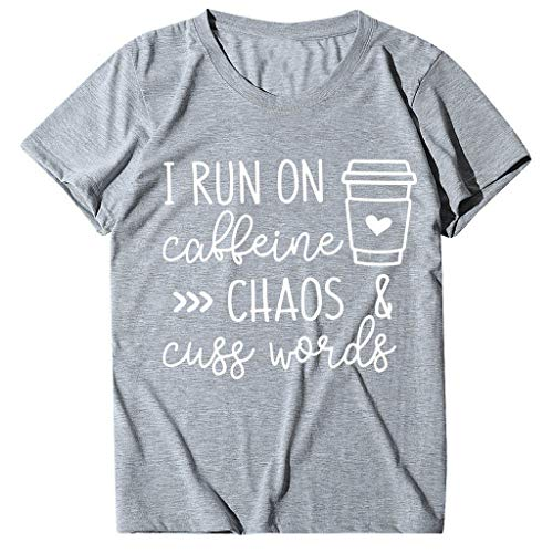 Ucoolcc Damen Langarmshirt T-Shirt Mode Womens Plus Size Kurzarm Sweatshirt gefärbt Kaffeebecher Brief gedruckt Pullover Top