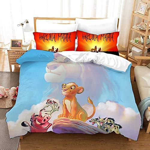 bed linings Juego de Cama 3D El Lecho con Cremallera De Cierre Rey León Impresión De La Historieta 100% Poliéster Regalo Funda Nórdica 3 Piezas con 2
