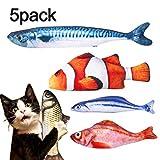 Spielzeug mit Katzenminze, Dioxide 5PCS Katze Interaktive Spielzeug, Simulation Fisch, Kissen Kauen Spielzeug, Simulation Plush Fisch Shape für Katze, Kitty, Kätzche
