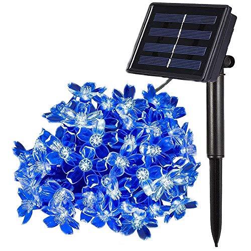 Luces de Cadena Solar, 7m 50LED Flor Solar que Enciende las Luces Solares de la Secuencia de la Flor con la Prenda Impermeable de 8 Modos (Azul)