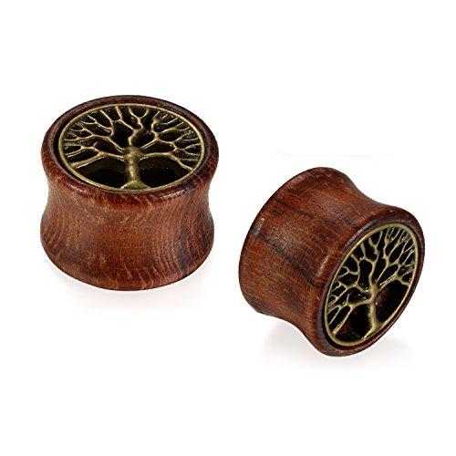 JewelryWe Schmuck 20mm Holz Double Flared Flesh Plug Sattel Tunnel Plugs Ohrstecker Ohrpiercing Bronze Hohl Baum des Lebens Vintage