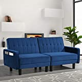 BINGTOO Futon Sofa Bed- Sleeper Sofa Bed Couch with Adjustable Backrest- Convertible Chair Sleeper Bed for Compact Living Space, Apartment, Dorm- Tufted Sleeper Sofa Bed Couch (Blue)