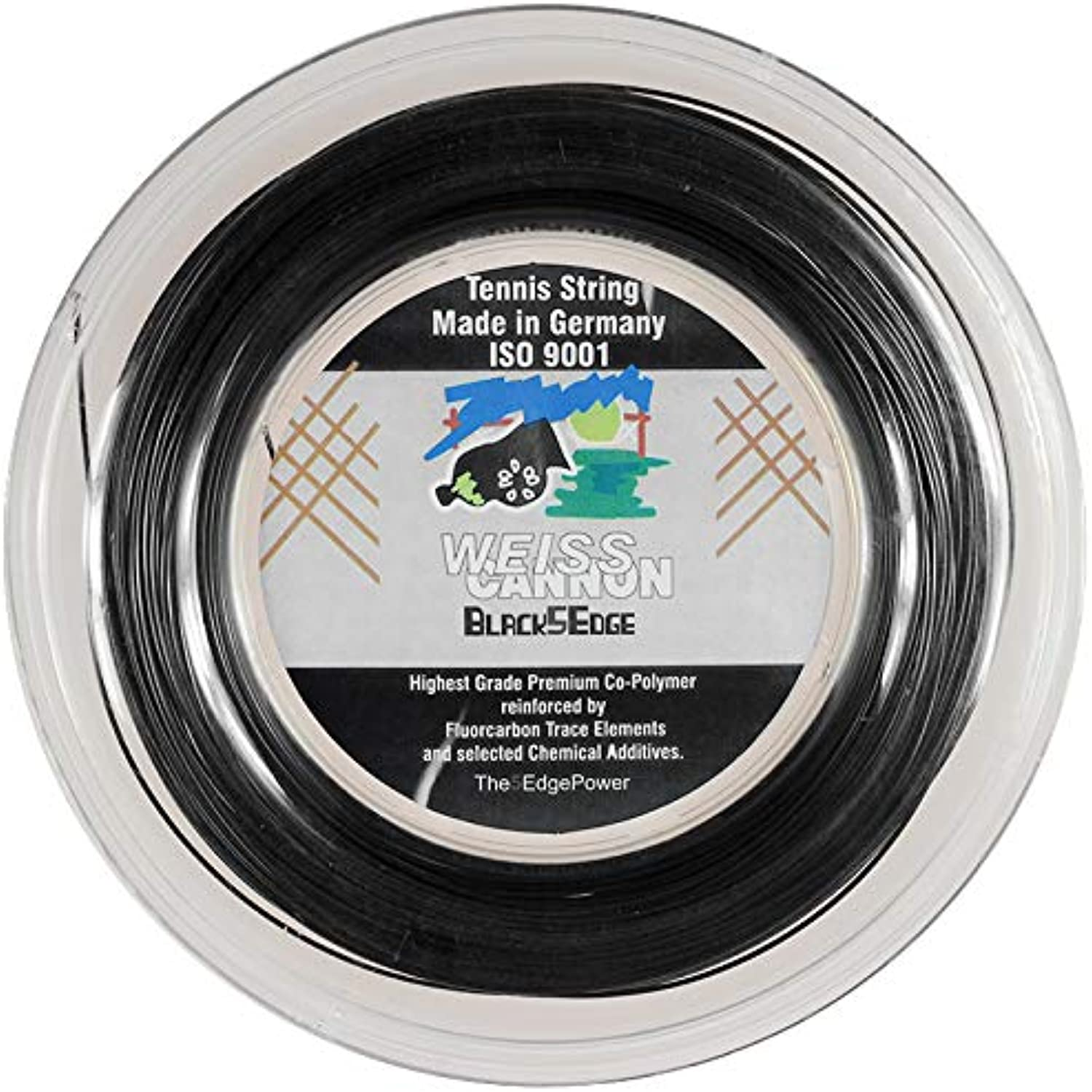 Weiss Cannon Black5Edge Tennis String - 1.24mm   17 (Black) 660ft 200m Reel Black 5 Edge