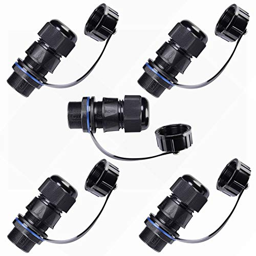 ANMBEST 5PCS Panel Mounting RJ45 Waterproof Connector Cat5/5e/6 Ethernet LAN Cable Coupler with Waterproof/Dust Cap Cover for Outdoor Network