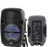 Boytone 8 Inch Bluethooth PA Speaker System, Battery Powered Rechargeable Karaoke DJ Speaker, Wireless Microphone, Flashing DJ Lights, Music Streaming, FM Radio, MP3, USB Port, TF Slot, AUX Jack
