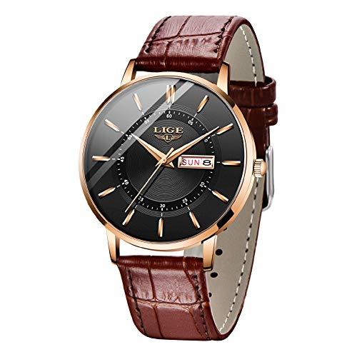 Relojes LIGE para Hombre, Ultrafino Impermeable Analógico de Cuarzo con Fecha Reloj de Pulsera Minimalista Informal con Correa de Cuero Genuino Relojes para Hombres