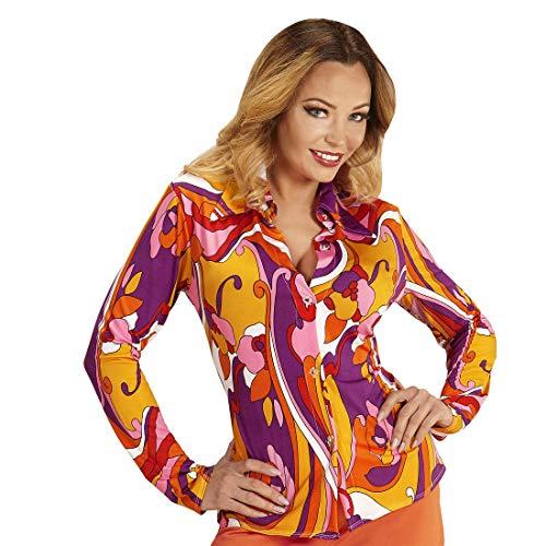 NET TOYS Knallige 70er Jahre Bluse mit Blumen - Orange-Violett L/XL (42 - 48) - Schicke Damen-Bekleidung Retro-Hemdbluse Hippie - Bestens geeignet für Mottoparty & Schlagermove